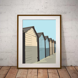 Beach Huts at sunrise by Maxine Walter