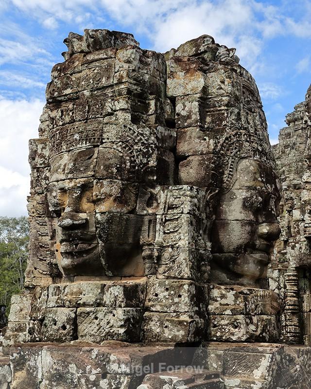 Stone faces at Bayon Temple, Angkor Thom, Cambodia - Cambodia