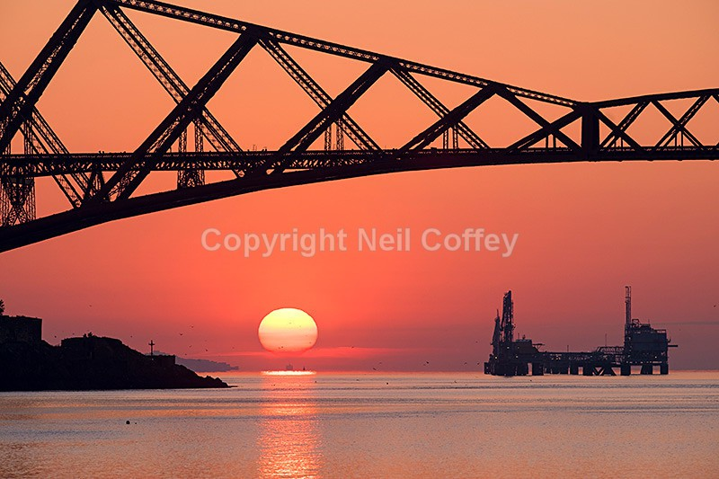 Sunrise under the Forth Rail Bridge, Firth of Forth - Landscape format