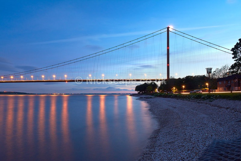 Humber Bridge at night blue sky with reflections | Landscape Photo Gallery