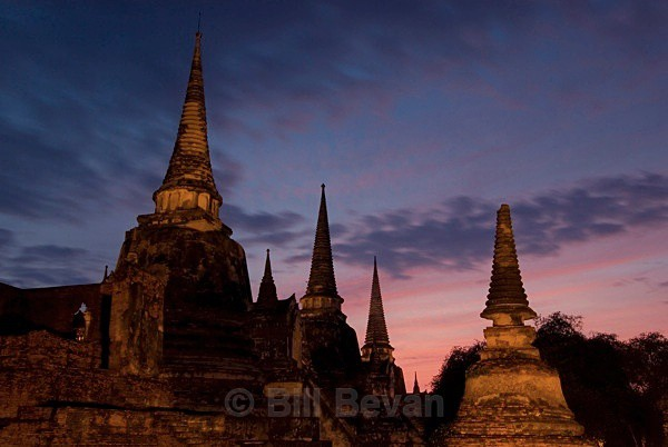 Chedis at Dusk - Ayutthaya