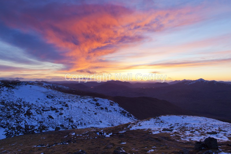 Grampian sunset from Cruach Ardrain, Stirlingshire - Landscape format