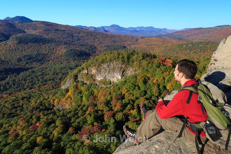 Hiker at Boulder Loop Morning - White Mountain National Forest and Northern New Hampshire