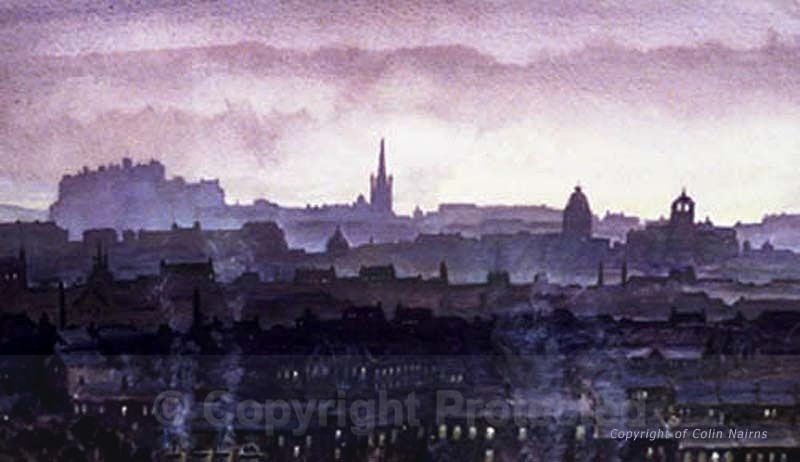 'Edinburgh Skyline' - Mauve version - Edinburgh Paintings