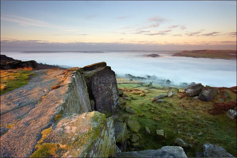 Curbar Edge - Overlooking Mist and Millstones - Peak District | Dark Peak