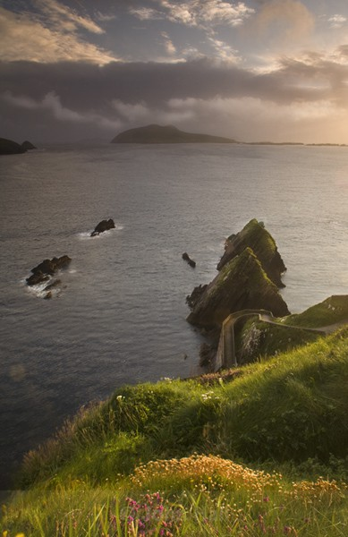 Dunquin Pier And Great Blasket Island At Sunset.