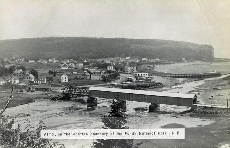 Alma New Brunswick Vintage View Covered Bridge RPPC - Historic New Brunswick