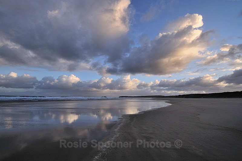 Cloud Reflections on Hayle Sands looking towards Godrevy Lighthouse  2 - St Ives and Hayle
