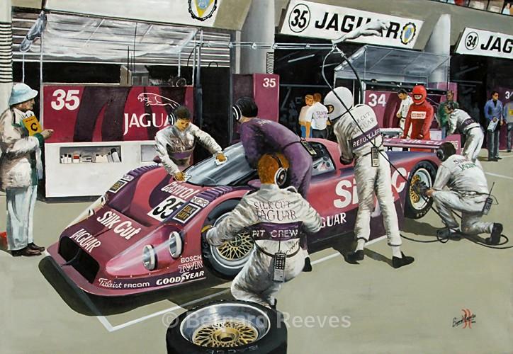 Jaguar Silk Cut pit stop Le Mans 24 hours 1991 - Sports cars