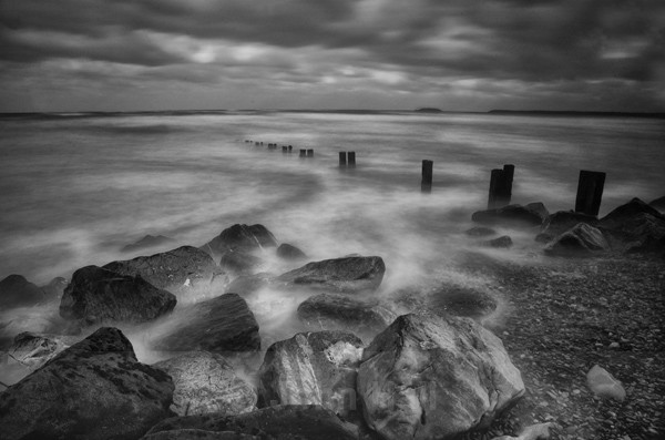Fine Art Monochrome Of Youghal Beach And Shore, Co. Cork, Ireland.