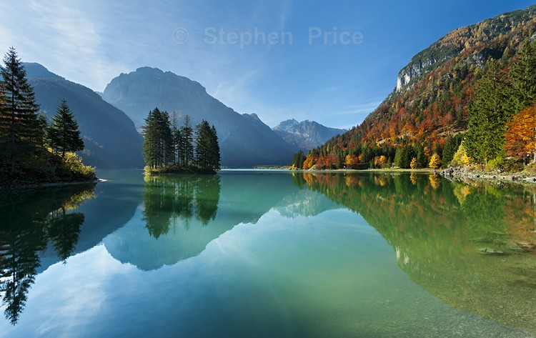 Lago Di Predil Reflections   Photo of Italian Lake in Autumn
