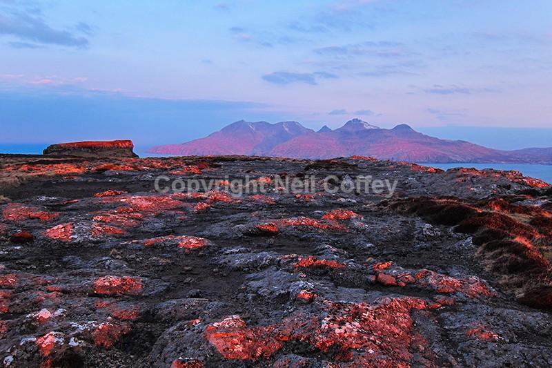 Sunrise over Rum from Beinn Bhuidhe, Isle of Eigg - Landscape format