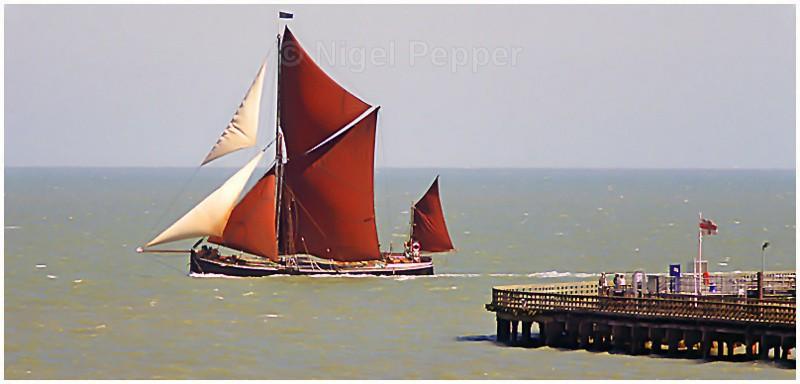 Passing Walton Pier - Thames Sailing Barges and Smacks