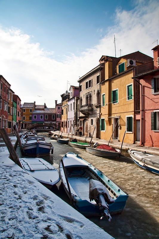 Burano - snow and ice - Venice