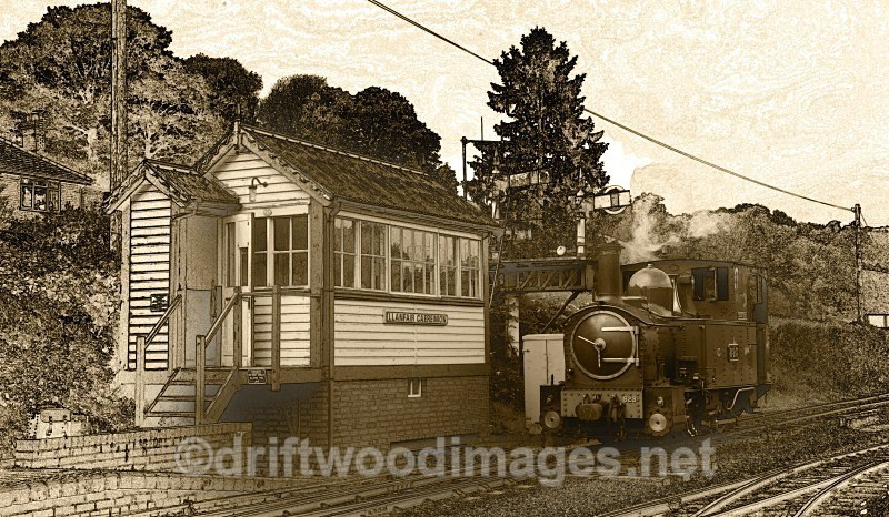 Llanfair signal box and Countess passing - The Welshpool & Llanfair Light Railway