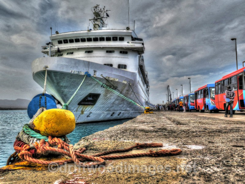 Cape Verde Islands Voyager and buses on quayside HDR - Cape Verde Islands