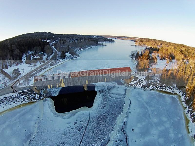 Milkish Inlet Covered Bridge #1 Bayswater New Brunswick  Aerial View - Covered Bridges of New Brunswick
