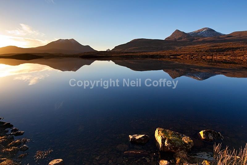 Cul Beag & Cul Mor across Lochan an Ais, Drumrunie Forest, Highland - Landscape format