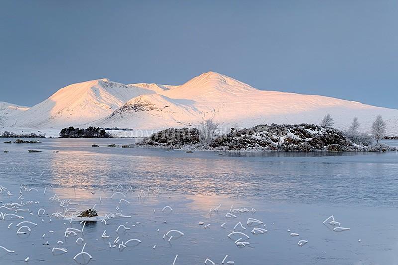 Clach Leathad & Meall A'Bhuiridh across Lochan na hAchlaise, Highland - Landscape format