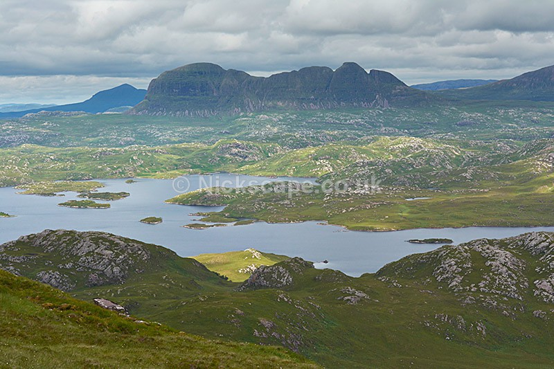 View from Stac Pollaidh across Loch Sionascaig to Suilven - Scotland