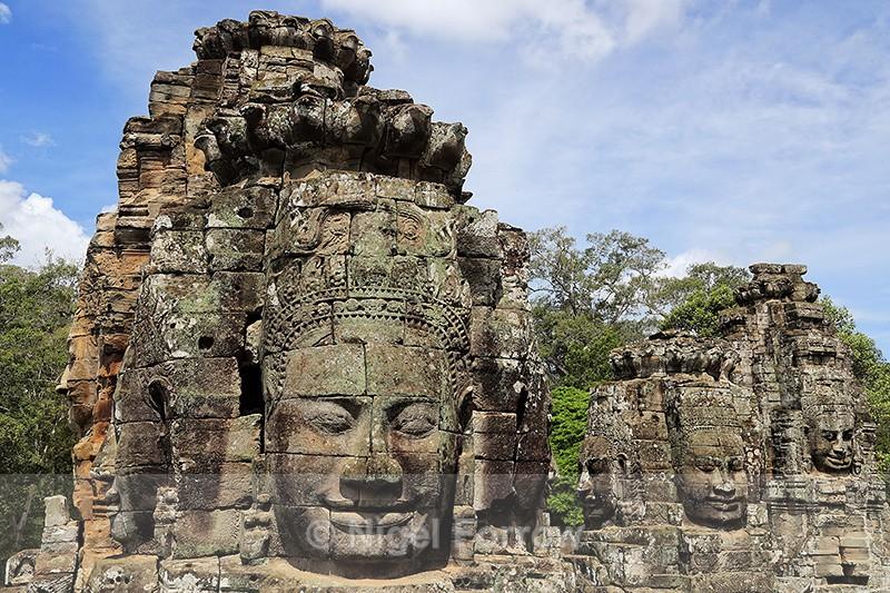 Stone faces, Bayon, Angkor Thom, Cambodia - Cambodia