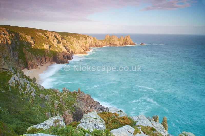The Logan Rock from Treen Cliff Pednvounder Beach | Porthcurno | Cornwall Photography Gallery