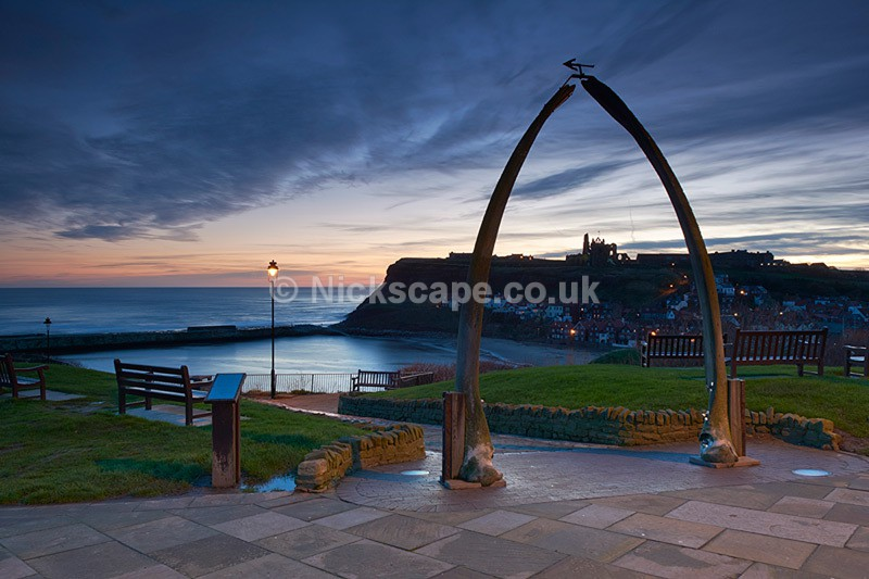 Whitby Whale Bone Arch and Whitby Abbey at Sunrise - Yorkshire Coast - Yorkshire