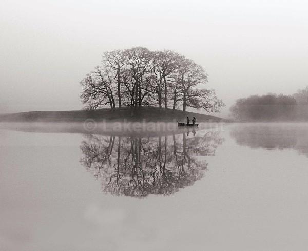 Esthwaite Fishing Mistbw - Monochrome