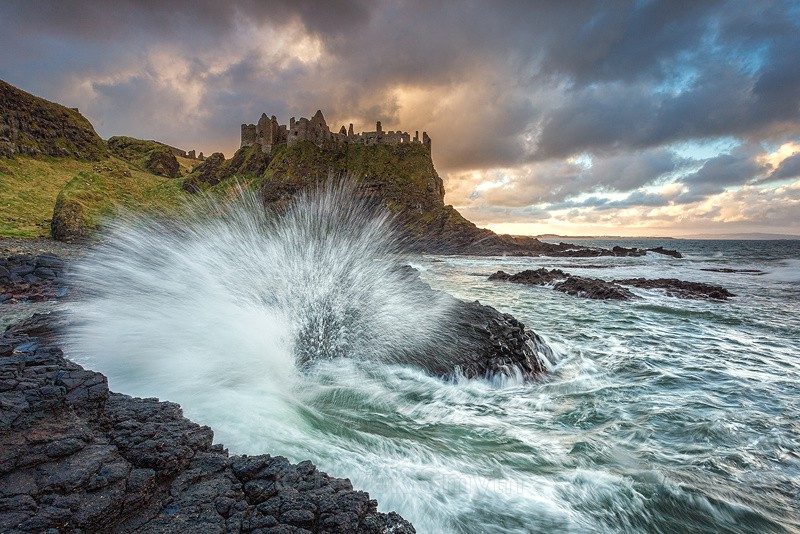 Crashing Wave At Dunluce Castle