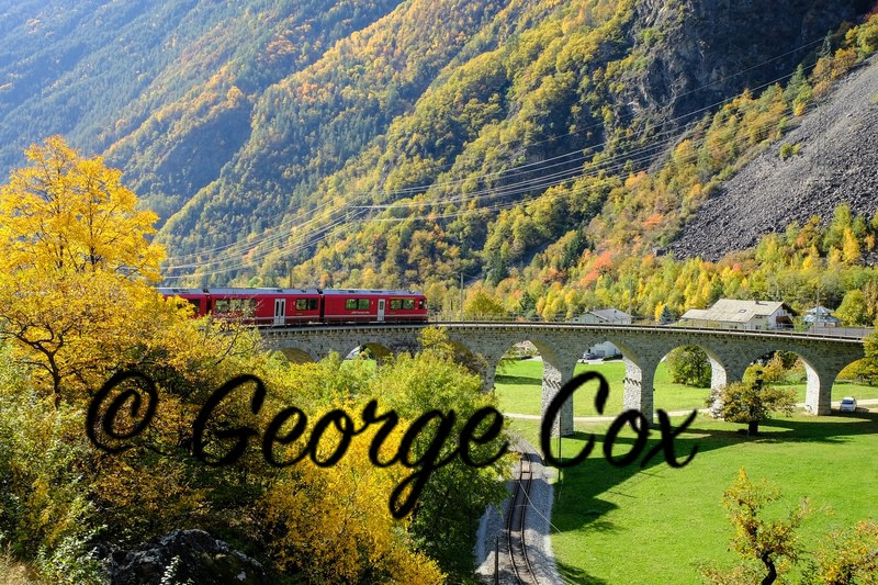 Bernina Express - Brusio Circular Viaduct - Switzerland