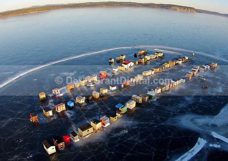 Renforth Ice Fishing Village Rothesay New Brunswick Canada Aerial View - Ice Shacks
