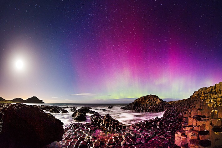 Moonlight Aurora at Giants Causeway - Ireland by Night