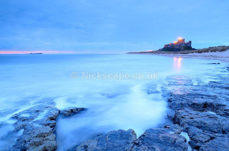 Sunrise Photograph at Bamburgh Castle - Northumberland Coast, UK - Northumberland