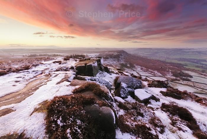 Red Sky at Dawn | Curbar Edge, Winter, Peak District