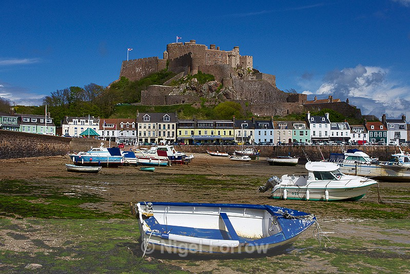 Mont Orgueil Castle & Gorey Harbour Boats at low tide - Guernsey & Jersey, Channel Islands