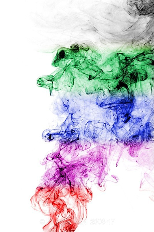 Multi coloured abstract smoke-vertical