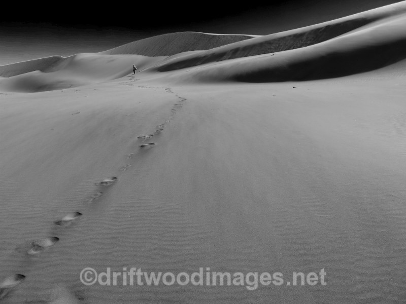 Namibia Swapokmund dune 7 and figure bw - Namibia, Southern Africa