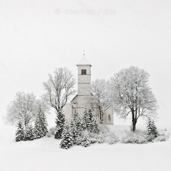Winter Snow Storm | Slovenian Church and Trees in Snow