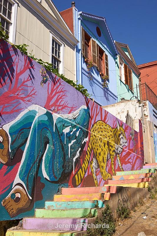 Colourful Street in Valparaiso - Coastal Chile