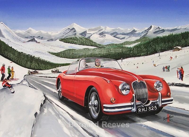 Jaguar XK150 in the Alps - Classic cars