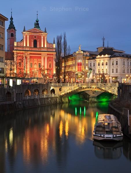 Ljubljana Bridge at Dusk | Blue Hour Photography Slovenia