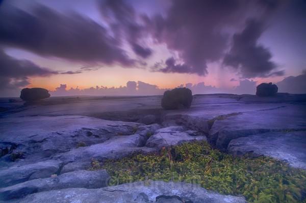 Burren Rocks At Dusk, Co. Clare, Ireland.