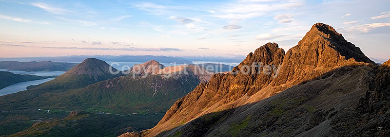 Evening light on the Red Cuillin and Sgurr nan Gillean, Isle of Skye - Panoramic format