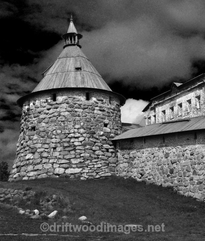 Solovetsky Islands monastery section of wall and tower 2  bw - The Solovetsky Islands, Russia