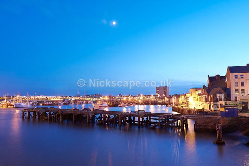 Photo of Bridlington Harbour at night | Yorkshire Coastal Photograph