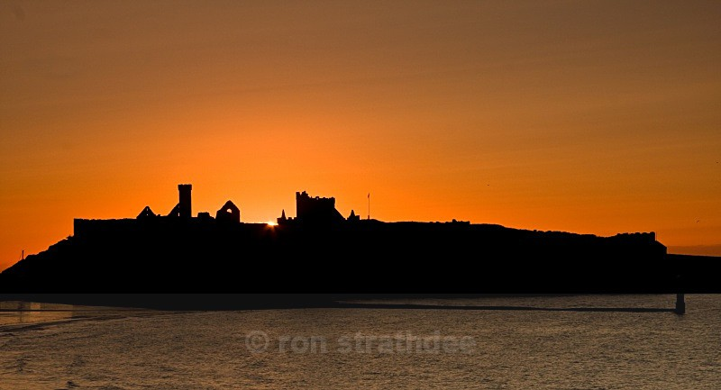 Peel Castle silhouette - Skies of Man