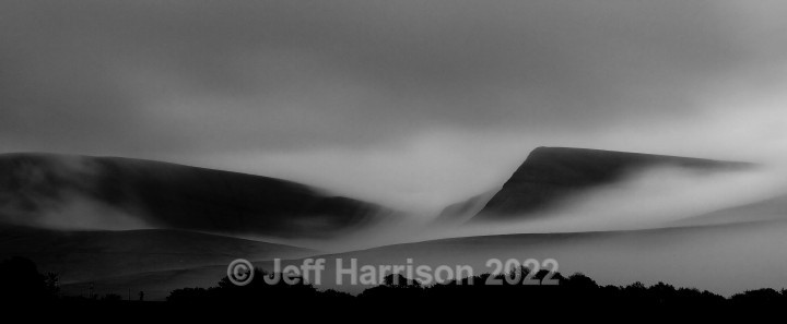 Evening mist over Black Mountain (image Wales 01 - mono) - Monochrome