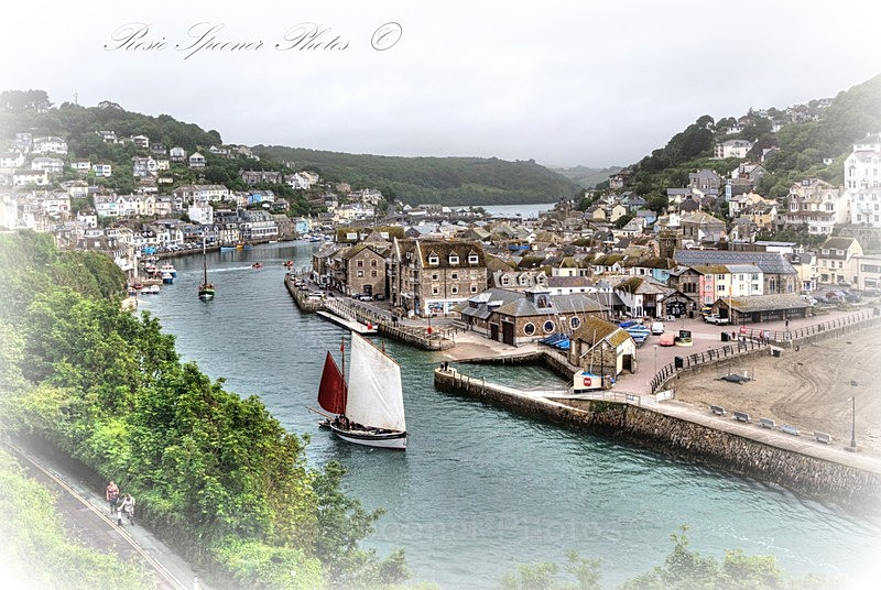 Vintage appearance photo of luggers on the River Looe - Looe in Cornwall