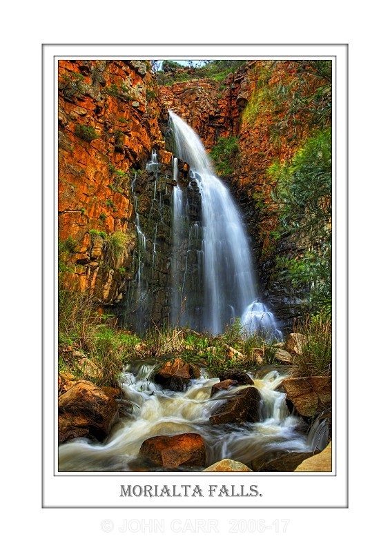 Beautiful Wall Art print  with a Border, showing Morialta Falls in full flow, South Australia.