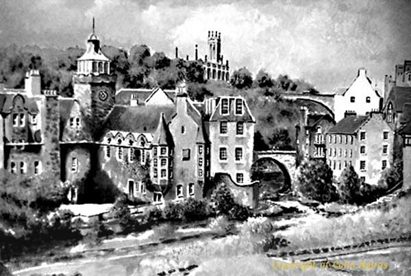 'Dean Village, Edinburgh' B&W print - Edinburgh Paintings